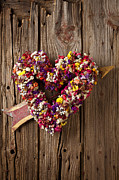 Arrow Prints - Heart wreath with weather vane arrow Print by Garry Gay