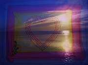 St Barbara Mixed Media Framed Prints - Heart Written Sunset Framed Print by Barbara St Jean
