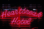 Sadness Framed Prints - Heartbreak hotel neon Framed Print by Garry Gay