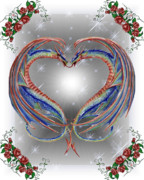 Red Royal Mixed Media Framed Prints - Hearted Dragons Framed Print by Scarlett Royal