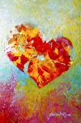 Abstract Hearts Paintings - Heartfelt I by Marion Rose