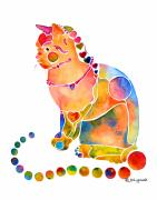 Watercolor Cat Paintings - Hearts A Plenty by Jo Lynch