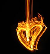 Flame Light Prints - Hearts Aflame -Falling In Love Print by Mark Fuller