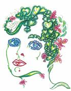Eve Drawings Posters - Hearts and Flowers Poster by Judith Herbert