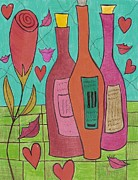Rose Wine Paintings - Hearts and Lips by Ray Ratzlaff