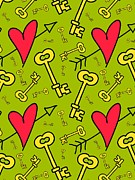 Green Color Art - Hearts And Skeleton Keys On A Green Background by Lana Sundman