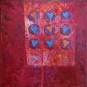 Media Painting Originals - Hearts by Ann Powell
