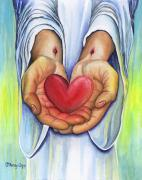 Jesus Art Painting Framed Prints - Hearts Desire Framed Print by Nancy Cupp
