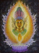 Mystical Art Metal Prints - Hearts Fire Buddha Metal Print by Sue Halstenberg