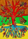 Hamas Paintings - Hearts Grow Into Butterflies by Jennifer Fayth
