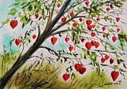 Grow Drawings Posters - Hearts Grow on Trees Poster by John  Williams
