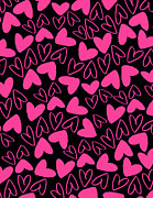 Patterns Digital Art - Hearts by Louisa Knight