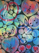 Hearts Pastels Posters - Hearts Love Music Poster by Richard Van Order