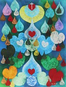 Christian Art Pastels Posters - Hearts of Love Poster by Richard Van Order