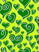 Green Color Art - Hearts On A Green Background by Lana Sundman