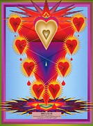Folk Print Digital Art Posters - Hearts On Fire Poster by Steven Welp