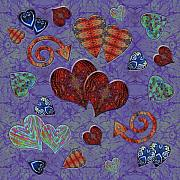 Sweetest Day Prints - Hearts on Lavendar Print by Sue Duda