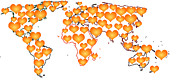 Abstract Hearts Digital Art - Hearts World Map by Georgeta  Blanaru