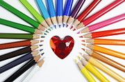 Colored Pencil Framed Prints - Heartshape and Circle of colorful crayons Framed Print by Sami Sarkis