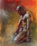 Nude Man Painting Prints - Heat 3 Print by Chris  Lopez