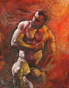 Nude Man Painting Prints - Heat 7 Print by Chris  Lopez