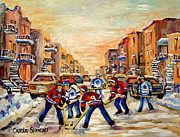 Hockey In Montreal Paintings - Heat Of The Game by Carole Spandau