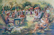 Cambridge Painting Prints - Heat wave at the orchard Granchester Print by Gilly  Marklew