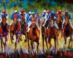 Kentucky Derby Paintings - Heated Race by Debra Hurd