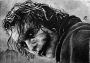 Parchment Drawings Prints - Heath Ledger - Joker Print by Bianca Ferrando