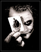 Makeup Drawings Posters - Heath Ledger as The Joker Poster by Kalie Hoodhood