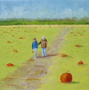 Family Love Paintings - Heather and Poppy Pumpkin Picking by Cindy Roesinger