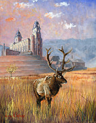 Elk Horns Painting Framed Prints - Heaven and Earth Framed Print by Jeff Brimley