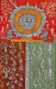 Gond Pardhan Paintings - Heaven  Skd 183  by Suresh Kumar Dhurve