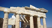Neo-classical Posters - Heavenly Acropolis Parthenon Architectural Columns with Blue Sky in Athens Greece Poster by John A Shiron