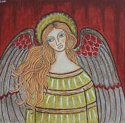 Folk Art Paintings - Heavenly Angel by Rain Ririn