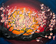 Cherry Blossoms Painting Metal Prints - Heavenly Blossoms Metal Print by Olga Paulescu