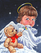 Christmas Angel Paintings - Heavenly by Richard De Wolfe