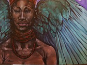 Giving Painting Originals - Heavenly she is an  Angel by Derek Polite