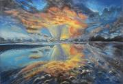 Beach Sunset Pictures Originals - Heavenly Sunset by Deborah McCoy