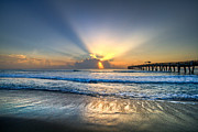 Pier Photo Posters - Heavens Door Poster by Debra and Dave Vanderlaan