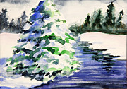 Snow Scene Painting Originals - Heavily Laden by Kristine Plum