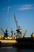 Heavy Equipment Cranes At Drydock Print by Eddy Joaquim