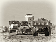 Dump Truck Framed Prints - Heavy Equipment Meeting Framed Print by Patrick M Lynch