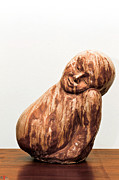 Woman Prints - Heavy Head leaning towards shoulder ceramic sculpture  Print by Rachel Hershkovitz