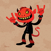Cartoon Posters - Heavy Metal Devil Poster by John Schwegel