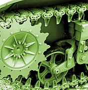 Machinery Digital Art Framed Prints - Heavy Metal in Green Framed Print by Valerie Fuqua
