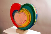 Popart Sculpture Prints - Heavy Metal Wet Heart Print by Mac Worthington