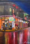 Old Buildings Mixed Media Prints - Heavy Rain On Bourbon St - New Orleans Print by Dan Haraga