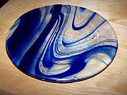 Home Decor Glass Art - Heavy Swirls 2 by Lisa Gerstenberger