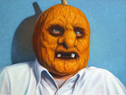Halloween Paintings - Heavy Vegetable-head by James W Johnson